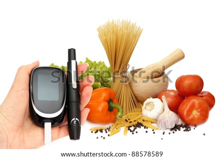 glucosemeter and healthy food