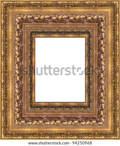 gold a picture frame on a white