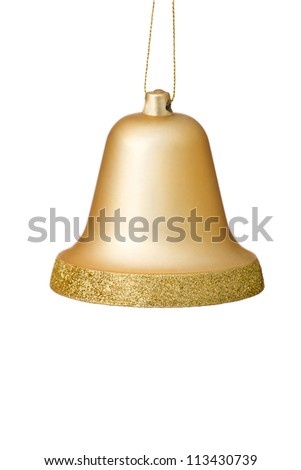 Gold Christmas Bell Ornament Hanging With Gold Glitter Surrounding The Bottom Edge.