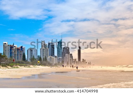 Gold Coast beach with skyscraper in Austarlia  #414704998