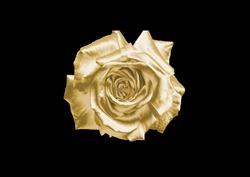 Gold flower on a black background .