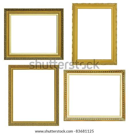 4 gold frame  over white background