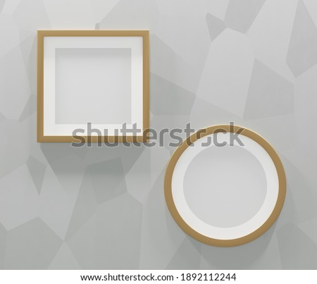 2 gold frames on a gray abstract background. 3d render Photo stock ©