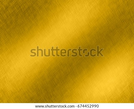 Gold metal brushed background or texture of brushed steel plate with reflections Iron plate and shiny #674452990