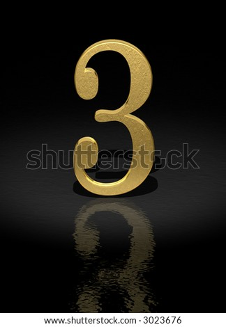 3 Gold Number on black background - 3d image