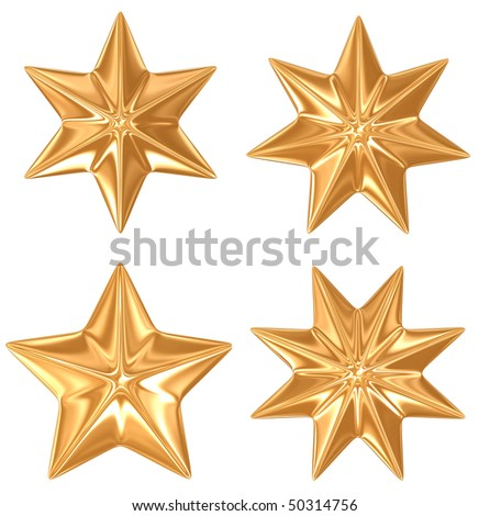 4 gold stars isolated in white