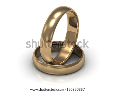 2 Gold wedding rings. Ring in the ring on a white background