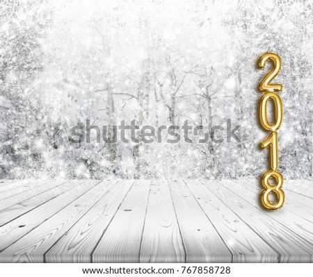 2018 golden balloon style numbers on wood countertop with winter background for display of product and holidays greeting card concept #767858728