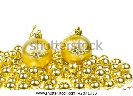 Golden Christmas balls with snowflake isolated on white background with copy space