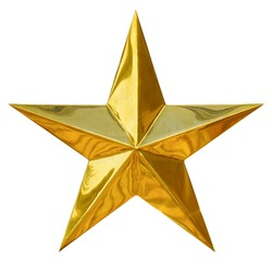 Golden Christmas Star isolated on white Background. Top View Close-Up Gold Star render (isolated on white and clipping path)