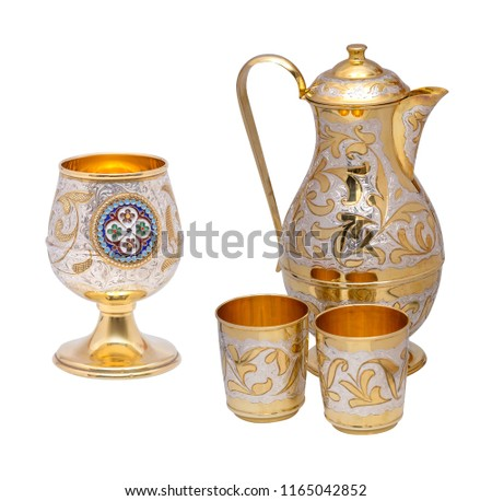 golden coffee cups with pot on white background #1165042852