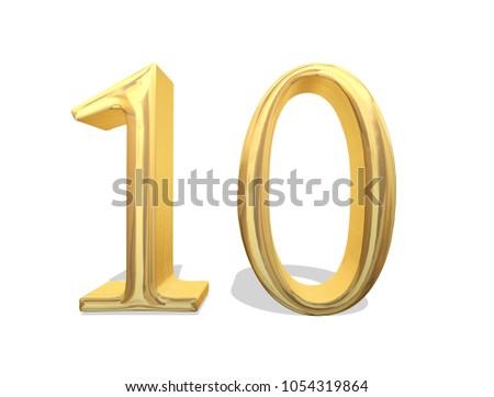 10 golden 3d render symbol #1054319864