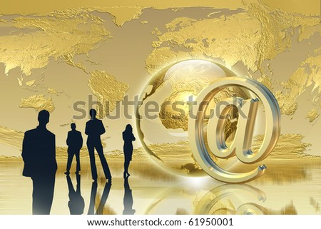 Golden Email - Global connection success concept