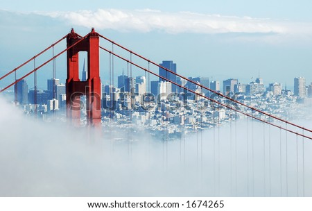 Golden Gate Bridge and San Francisco from the Marin Headlands on a foggy day.