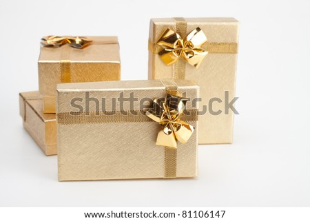 4 golden jewelry box isolated on white background