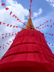 Golden Mount Temple with red cloth in Bangkok