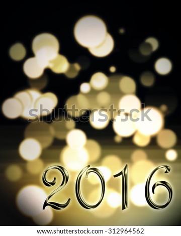 golden 2016 on bright bokeh on black background #312964562
