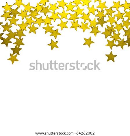golden  stars ornaments on white background