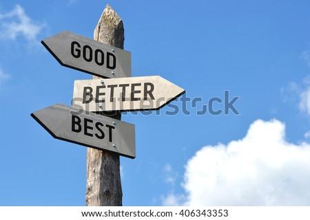 """""""Good, better, best"""" - wooden signpost, cloudy sky #406343353"""