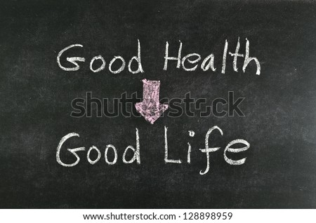 good health and good life word written on blackboard