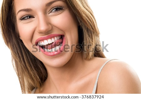 Gorgeous woman with beautiful, healthy  teeth smile  #376837924