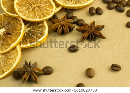 grain aromatic coffee spices citrus flat lay style