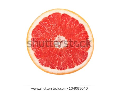 Grapefruit with slice detail on white background #134083040