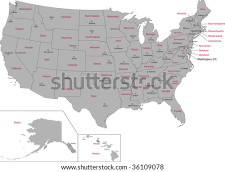 map of usa states with cities. stock photo : Gray USA map