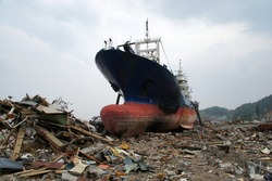3.11 Great East Japan Earthquake A ship launched on land by the tsunami