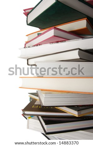 1 greater pile of not used books close up on the isolated background