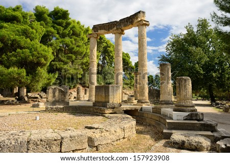 Photo of   Greece Olympia, ancient ruins of the important Philippeion in Olympia, birthplace of the olympic games  -   UNESCO world heritage site