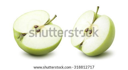 2 green apple half options isolated on white background as package design element #318812717