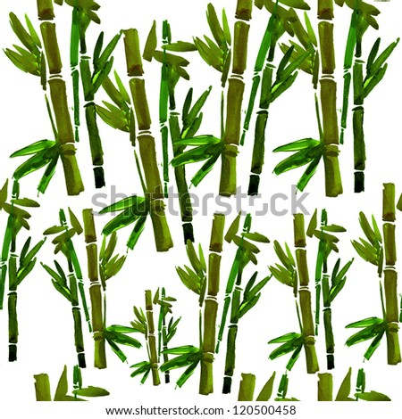 green bamboo pattern. watercolor