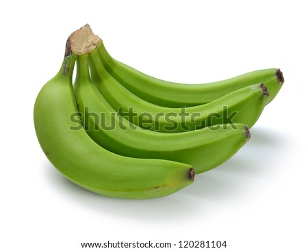 green banana bundle on a white background