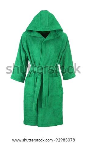 green bathrobe isolated on white background