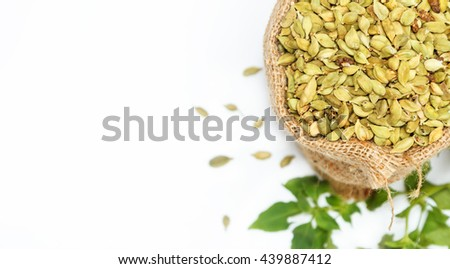 (Green Cardamon) Group of indian spices and herbs difference ware on white background with top view and copy space for design foods, vegetable, healthy lifestyle, mock-up or other your content. #439887412