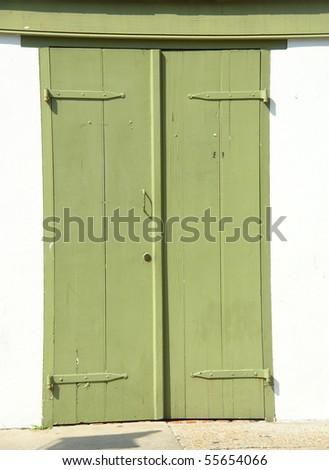 Green Double Doors in French Quarters
