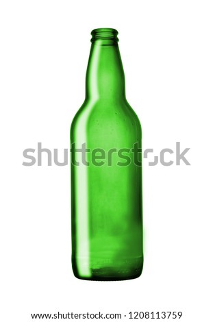 green empty beer bottle