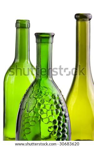 green empty bottles