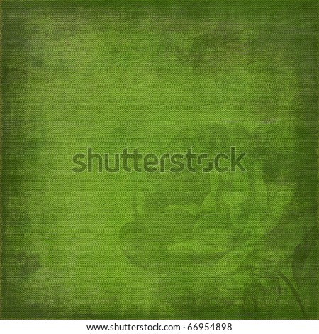 green, grunge background with rose silhouette - stock photo