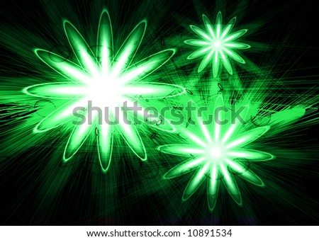 3 green lights on a black background