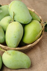 green mangoes in basket