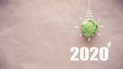 2020 Green paper light bulb, New year eco resolution, social responsibility, csr, innovation solution concept, climate change global action