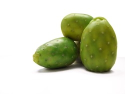 green pear (opuntia ficus indica fruit) on white background