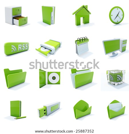 16 green plastic 3d icons isolated on white