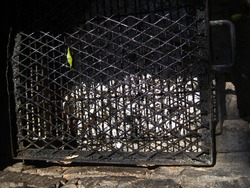 GRIMY GRID OVER COLD ASHES OF A DEAD FIRE