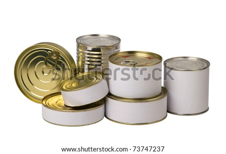 group of food tin cans with empty white label on a white background - stock photo