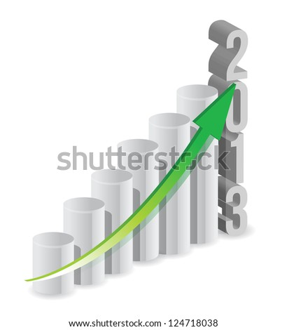2013 growth bar graph illustration design over white