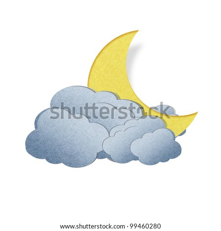 Grunge recycled paper moon on white background
