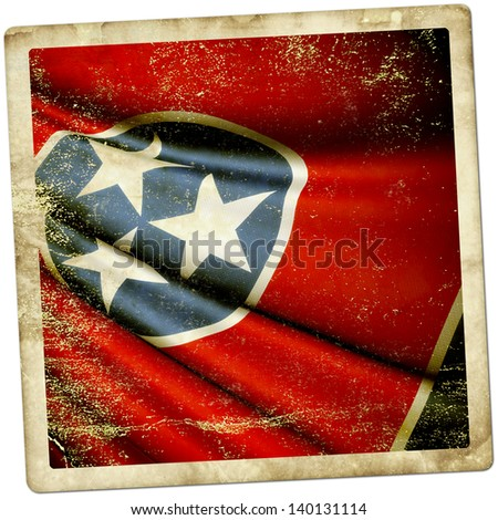 Grunge sticker Flag of Tennessee (USA)